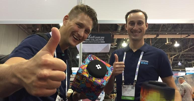 Catchbox reps at IMEX America 2015