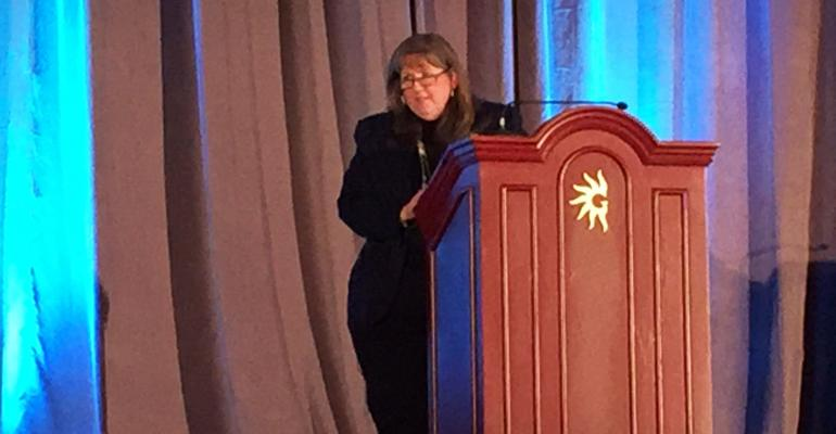 Barbara Huffman MEd FACEHP giving Maitland lecture at ACEhp 2016