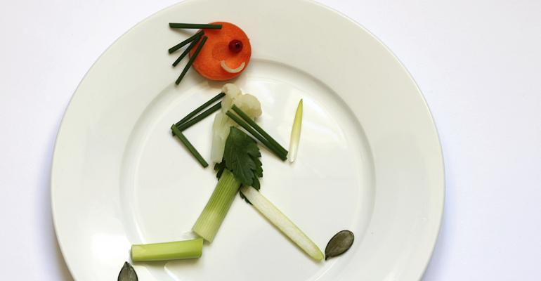 Vegetable person on a plate