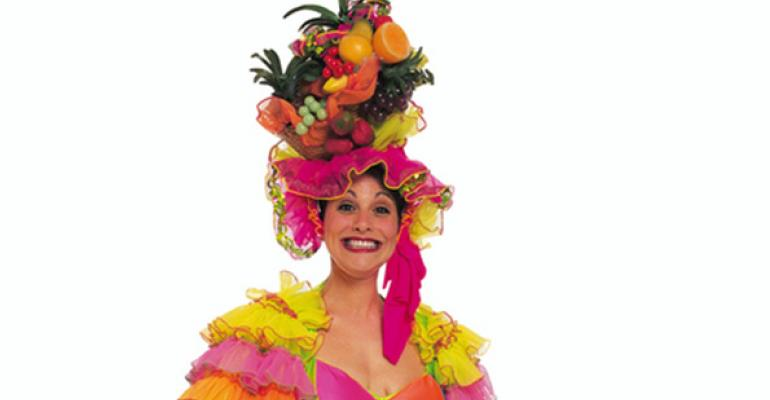 Lady with fruity hat