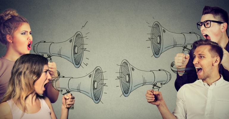 women and men with megaphones