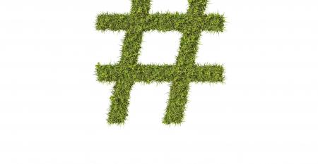 hashtag in grass